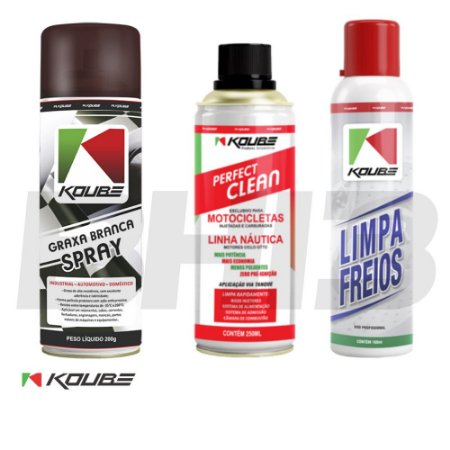 Combo Koube Graxa Branca + Perfect Clean Moto + Limpa Freios Koube