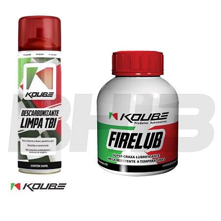 Combo Koube Firelub Graxa Alta Temperatura Limpa TBI Descarbonizante secagem Rápida