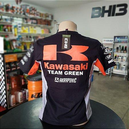 Kawasaki Laranja Camisa Team Green Racing Camiseta Algodão Ref.264