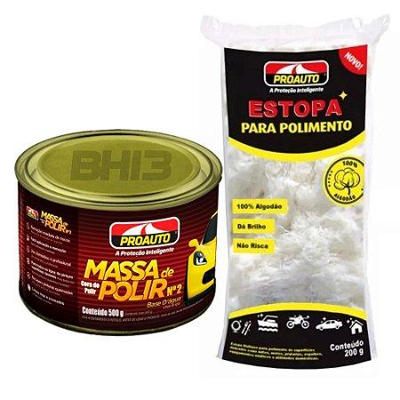 Kit Polimento Massa De Polir Nº 2 + Estopa Proauto