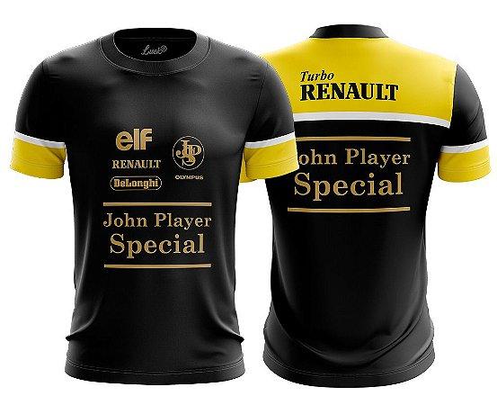 Camiseta F1 Senna Lotus Corrida Camisa Poliéster Lu.001