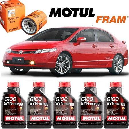 Civic SI KIT Troca de Óleo MOTUL 6100 5W40 Honda 2.0 PH8999