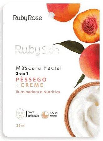 Máscara Facial de Tecido Pêssego e Creme Skin Ruby Rose
