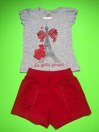 Conjunto Menina Cotton Short Vermelho