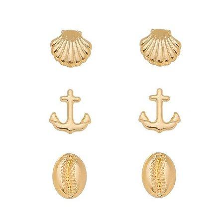 Trio brincos mar Banhado em Ouro 18k
