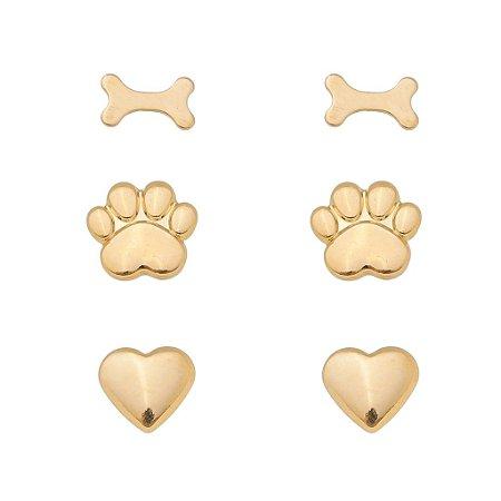 Trio Brincos Pet Banhado em Ouro 18k