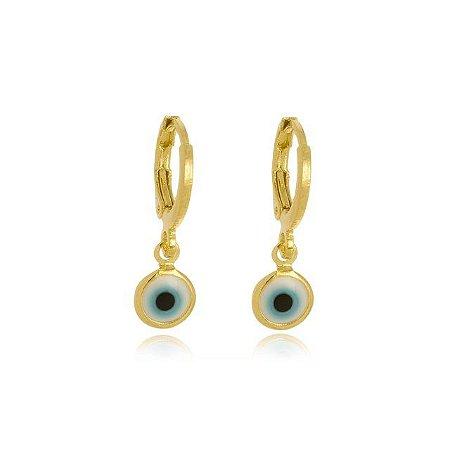 Brinco olho grego banhado em ouro 18k
