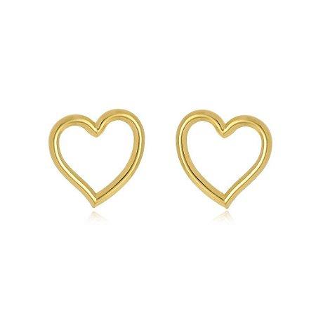 Brinco coração liso banhado em ouro 18k