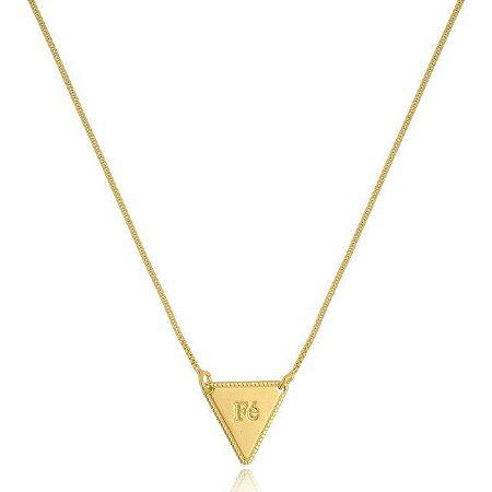 Colar triangular fé banhado em banhado em ouro 18k