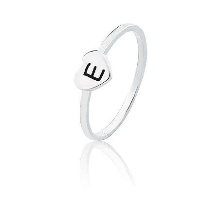 Anel personalizado coração letra E- Prata 925