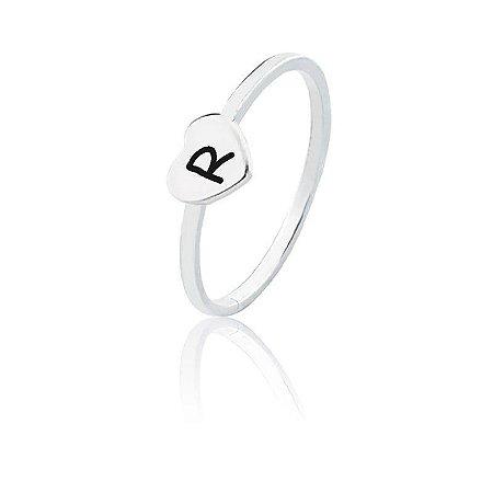 Anel personalizado coração letra R- Prata 925