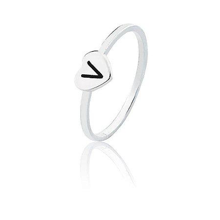Anel personalizado coração letra V- Prata 925