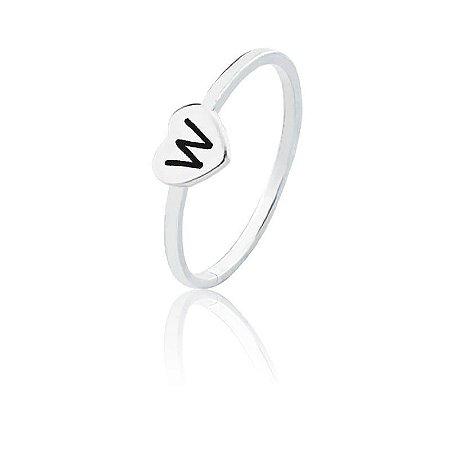 Anel personalizado coração letra W- Prata 925