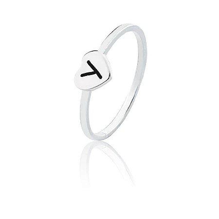 Anel personalizado coração letra Y- Prata 925