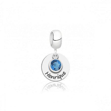 Berloque Personalizado Nome com Pedra Azul - Prata 925