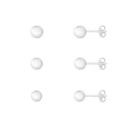 Trio de brincos bolinhas - Prata925