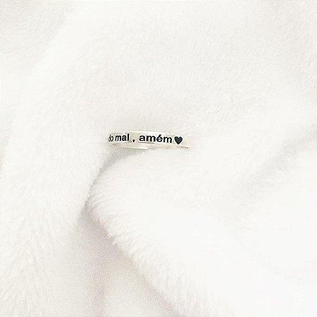 """Anel """"Livrai-me de todo mal, amém"""" aro 3mm Prata 925"""
