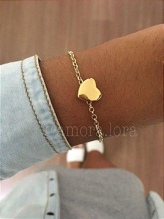 Pulseira Coração Pequeno Dourado AMORALORA Ref.456