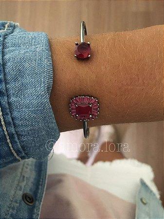 Bracelete Vermelho Zircônia Ref.308