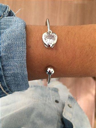 Bracelete Coração e Pedra  Ref.354