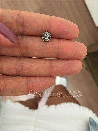 Piercing de Furo Rosa - Aço Inoxidavél -  Ref.458