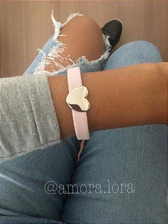 Pulseira Tecido Rosa Coração AMORALORA Ref.516