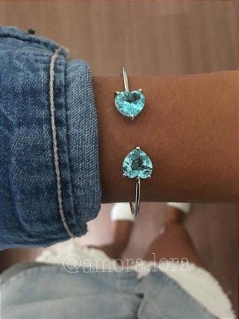 Bracelete Dois Corações Azul  Ref.595