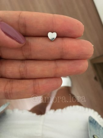 Piercing de Furo Coração - Aço Inoxidavél -  Ref.696