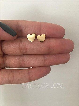 Brinco Coração Dourado - Aço Inoxidável - Ref.797