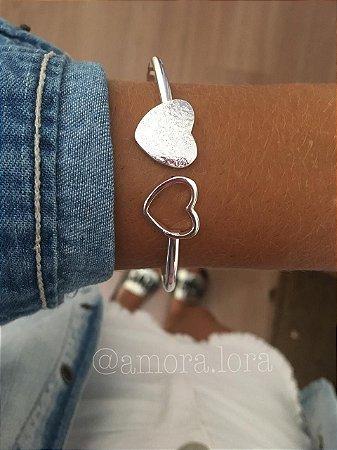 Bracelete Corações - Banho de Prata- Ref.840