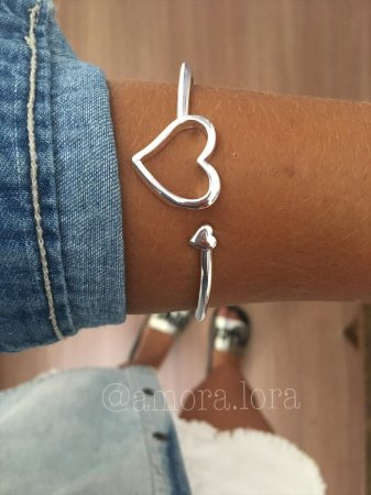 Bracelete Coração - Banho de Prata- Ref.842
