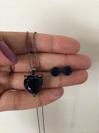 Conjunto Colar e Brinco Azul Marinho Ref.1347