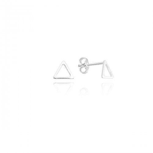 Brinco Geométrico Triângulo Prata 925 Ref. BR19