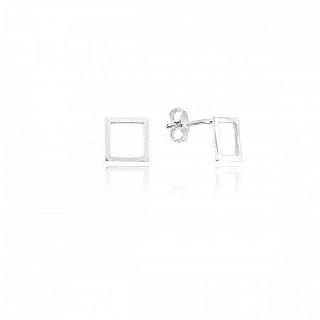 Brinco Geométrico Quadrado Prata 925 Ref. BR24