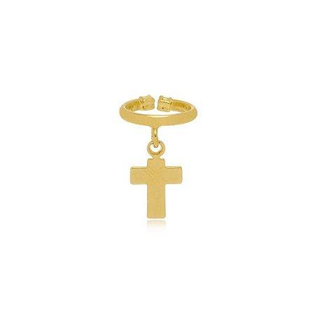 Piercing Fake Cruz banhado a  Ouro 18K Ref: BR23S