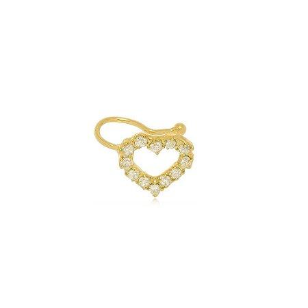 Piercing Fake Coração Zircônia banhado a Ouro 18K Ref: BR24S