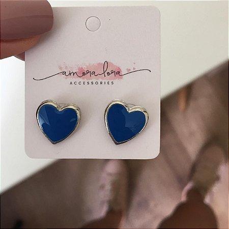 Brinco Coração Azul
