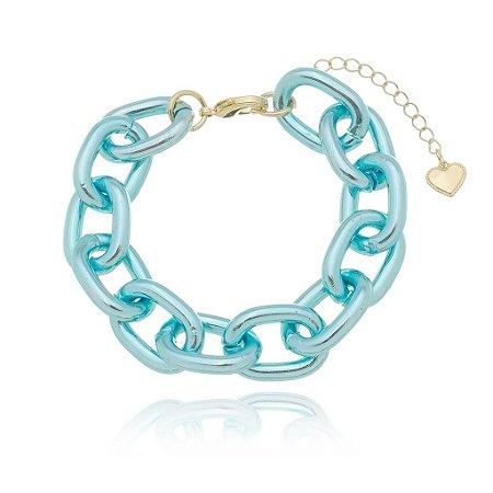 Pulseira elo cadeado azul (30118)