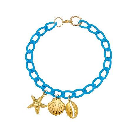 Pulseira elo cadeado pequeno com concha, búzio e estrela do mar folheado ouro 18k (30142)