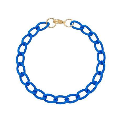 Pulseira elo cadeado pequeno azul (30140)