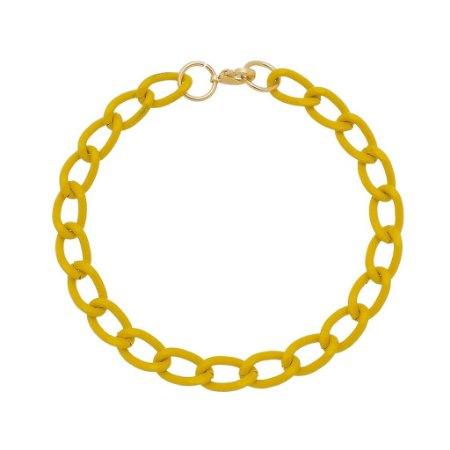 Pulseira elo cadeado pequeno amarelo (30138)