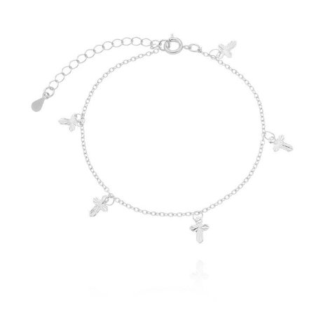 Pulseira cruzes banhado em ouro 18k / prata / ródio branco (30132)