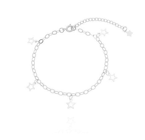 Pulseira estrelas banhado em ouro 18k / prata / ródio branco (30131)