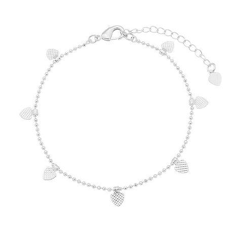 Pulseira corações banhado em ouro 18k / prata / ródio branco (30121)