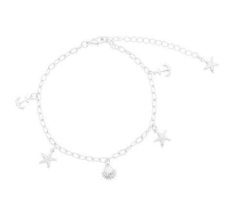 Pulseira ancora/ estrela/ concha banhado em ouro 18k / prata / ródio branco (30108)