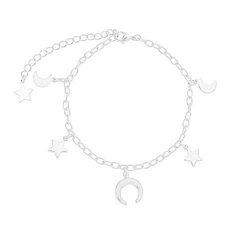 Pulseira estrela/ lua/ chifre banhado em ouro 18k / prata / ródio branco (30107)