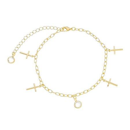 Pulseira cruz/ pedra cristal folheado ouro 18k (30106)