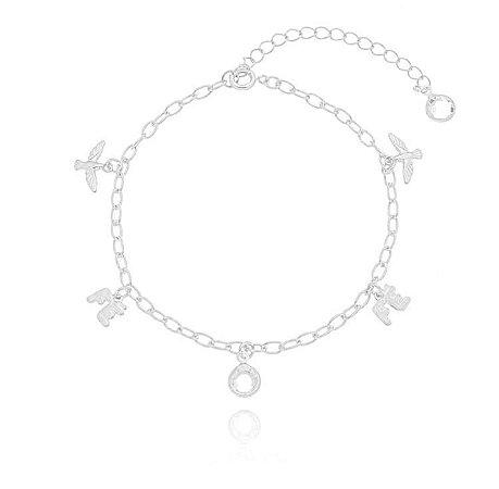 Pulseira fé/ Espírito Santo/ pedra cristal banhado em ouro 18k / prata / ródio branco (30105)