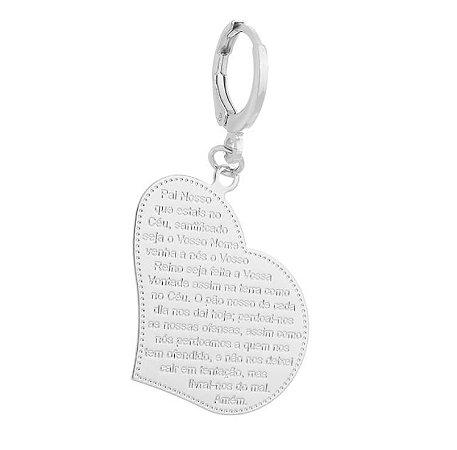 Pingente Coração Pai Nosso banhado em ouro 18k / prata / ródio branco (70111)