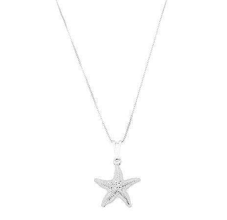 Colar estrela do mar banhado em banhado em prata ou ródio branco